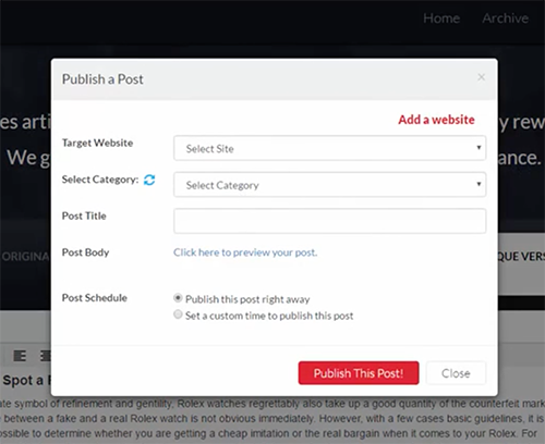 Competitor's design for remote WordPress posting