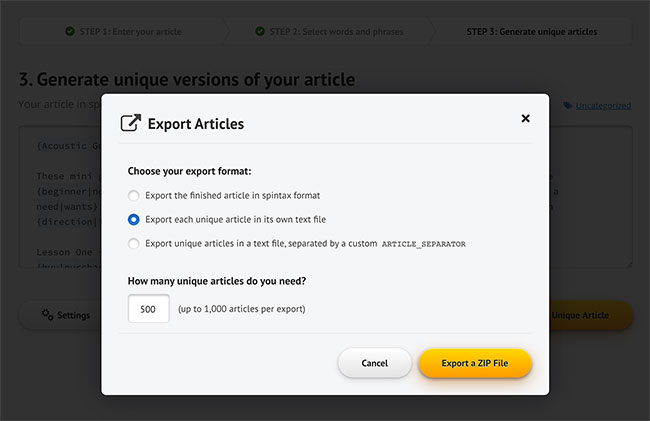 Step 3: Export Unique Articles