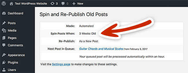 Spin Rewriter WordPress Plugin automatically spins and re-publishes your old posts